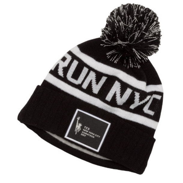 New Balance women run beanie pom pom beanie hat