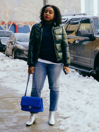 bag blue bag nyfw 2017 fashion week 2017 fashion week 2016 fashion week streetstyle jacket black jacket sweater black sweater denim jeans blue jeans cropped jeans boots ankle boots metallic metallic shoes silver silver shoes