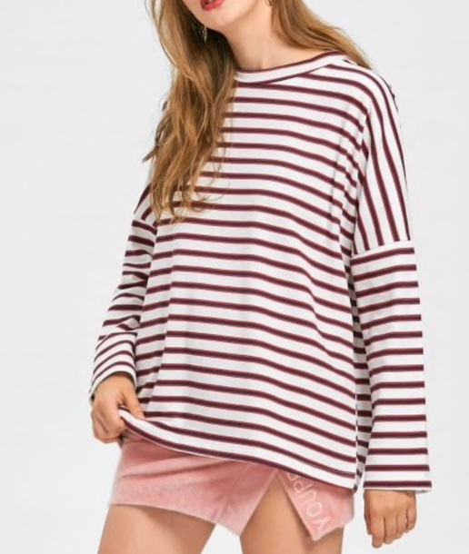 blouse girly white red stripes striped top striped shirt long sleeves
