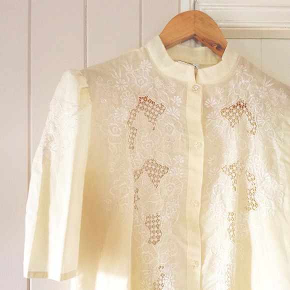 folk hippie shirt floral cream ivory blouse embroidered embroidery festival coachella hippy vintage