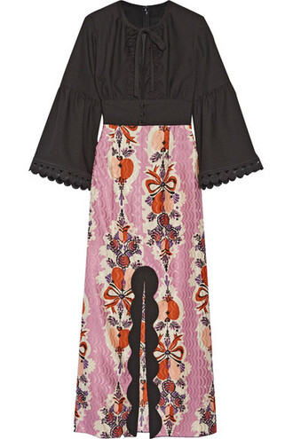 dress maxi dress maxi jacquard cotton black silk
