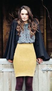 skirt,mustard,pencil skirt