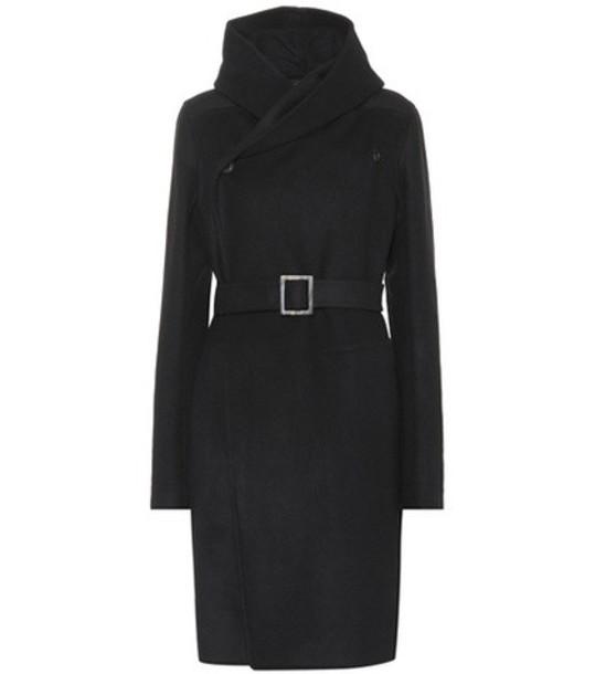 Rick Owens Belted wool-blend coat in black