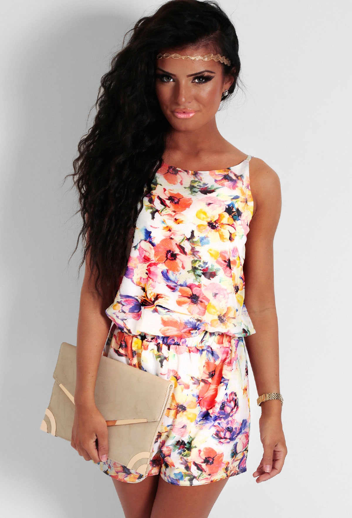 Peony Multicolour Floral Print Playsuit | Pink Boutique