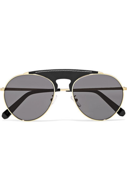 Loewe - Sasha Aviator-style Gold-tone And Leather Sunglasses - Black