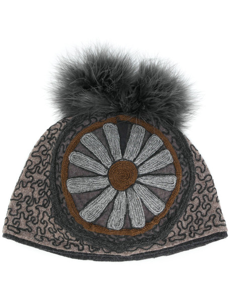 embroidered beanie floral brown hat