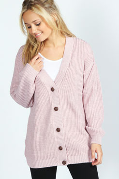 Nicola Marl Fisherman Knit Cardigan at boohoo.com