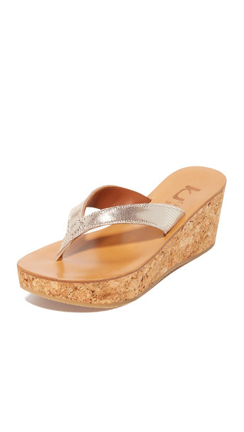 K. Jacques Diorite Thong Wedges - Disco Platine