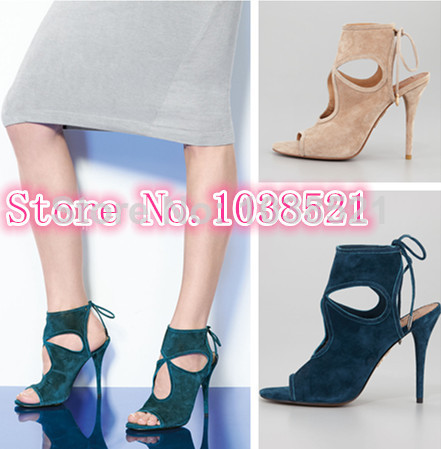 2014 Fall Sexy Sandal Boots Booties Women Pumps Designer High Heels Ankle Strap Lace Up Suede Women Boots Women Motorcycle Boots-in Boots from Shoes on Aliexpress.com