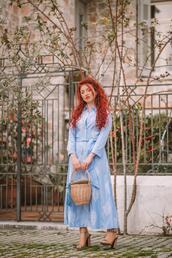 nothinglikefashion,blogger,dress,bag,shoes,basket bag,sandals,blue dress,spring outfits,spring dress