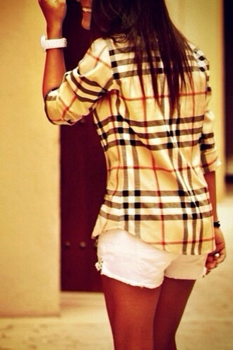 blouse burberry plaid top black white red
