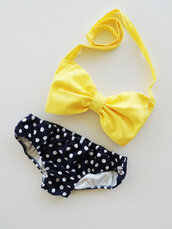 swimwear,yellow,polka dots,bikini,bows,black,black bikini,bow,yellow top,underwear