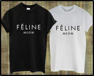 t-shirt celine paris shirt celine feline meow paris top black white black and white font graphic tee tumblr