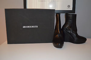 Ann Demeulemeester Black Leather Wedge Ankle Boot sz 37