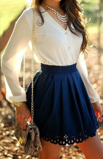 skirt navy skirt blue skirt white blouse flower print skirt cut-out pearl pearl statement necklace jeans blouse bag high waisted trim long sleeves high waisted skirt white blue skater skirt necklace purse