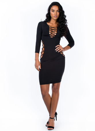 dress criss cross strappy lbd dress with side cutouts