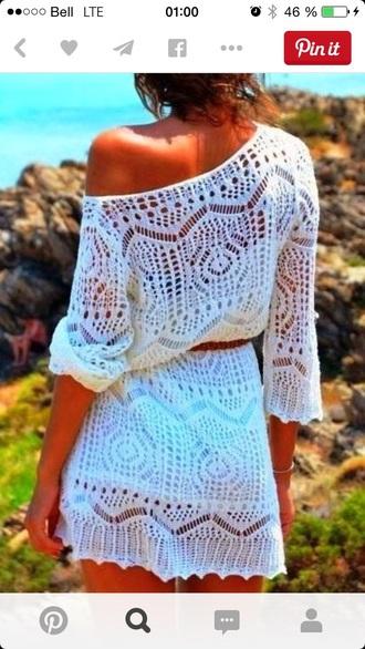 dress crochet shite dress