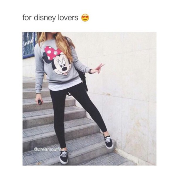 Sweater Sweatshirt Minnie Mouse Disney Instagram Grey Cute