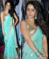dress,bollywood,aashiqui 2,shrada kapoor,saree,light blue,gold,sequins,earings,love,lovely