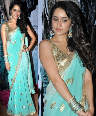 dress bollywood aashiqui 2 shrada kapoor saree light blue gold sequins earings love lovely