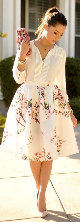 skirt floral skirt white dress midi skirt blouse