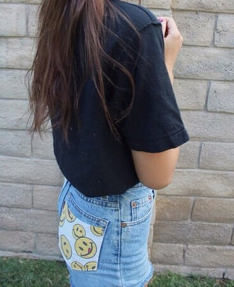 smiley face shorts yellow denim light blue