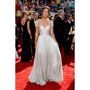 Olivia wilde light silver prom dress 2008 primetime emmy awards red carpet
