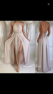 dress,backless,beige,long,splits,free vibrationz,prom dress,halter top,boho dress,ball gown dress,nude dress