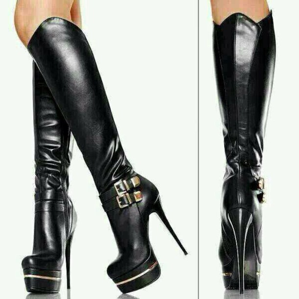 Shoes: black leather stiletto knee high boots - Wheretoget