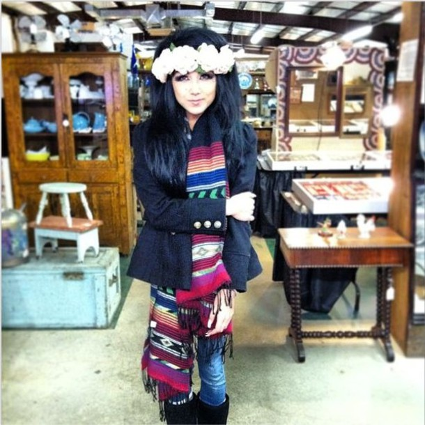 scarf tribal scarf fringe scarf aztec scarf aztec colorful tribal pattern