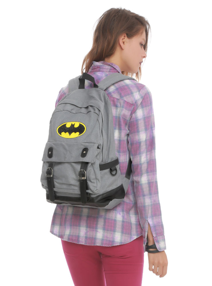 New dc comics batman bat logo buckle backpack school book bag