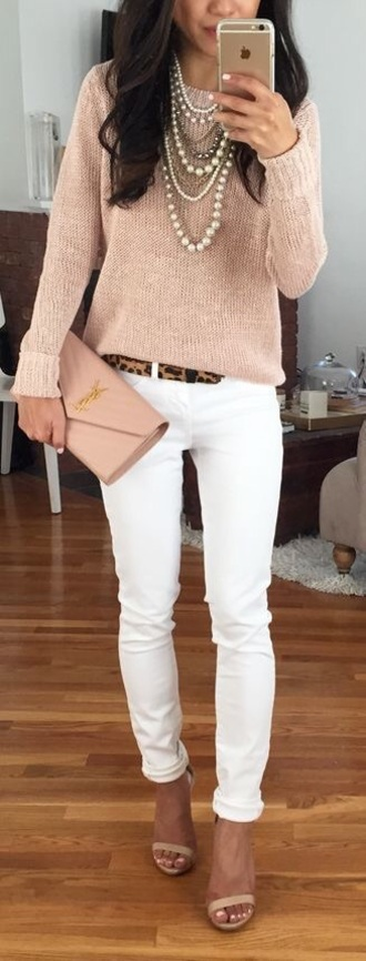 sweater cotton jeans pull laine rose pink