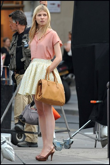 clemence poesy floral skirt lether bag camel floral hat