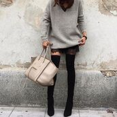 sweater,grey oversized sweater,tumblr,grey sweater,greys oversize sweater,bag,nude bag,dress,sweater over dress,boots,black boots,over the knee boots,fall outfits,thigh high boots