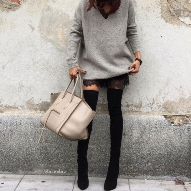 Sweater: grey oversized sweater, tumblr, grey sweater, greys ...