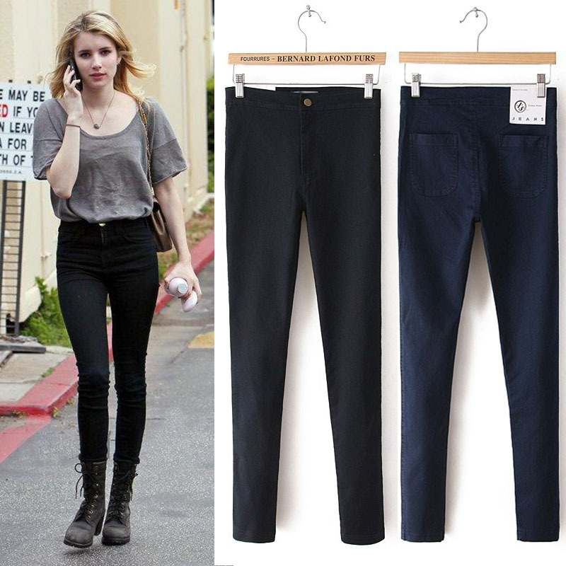 Free shipping Women's 2014 women Aa American apparel HOT HIGH FASHION SLIM FIT Elastic High Waist Easy Jeans XS L-in Socks & Hosiery from Apparel & Accessories on Aliexpress.com