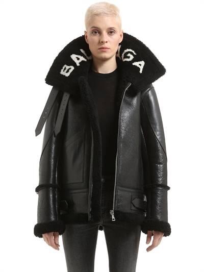 BALENCIAGA, Oversized le bombardier shearling jacket, Black, Luisaviaroma