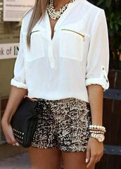 shorts,leopard print,blouse,top,jewels,shirt,gold sequins,chiffon,chiffon blouse,gold short pretty,pattern,classy,long sleeves,bracelets,watch,purse,necklace,white,gold,buttons,ziper,pockets,rolled sleeves,jewelry,stacked bracelets,bling,spikes,armcandy,arm candy,fancy,sequins,pearl,Sequin shorts