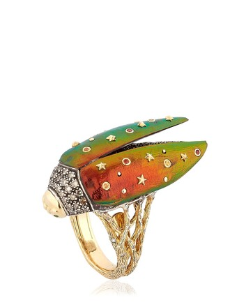 wings open ring gold multicolor jewels