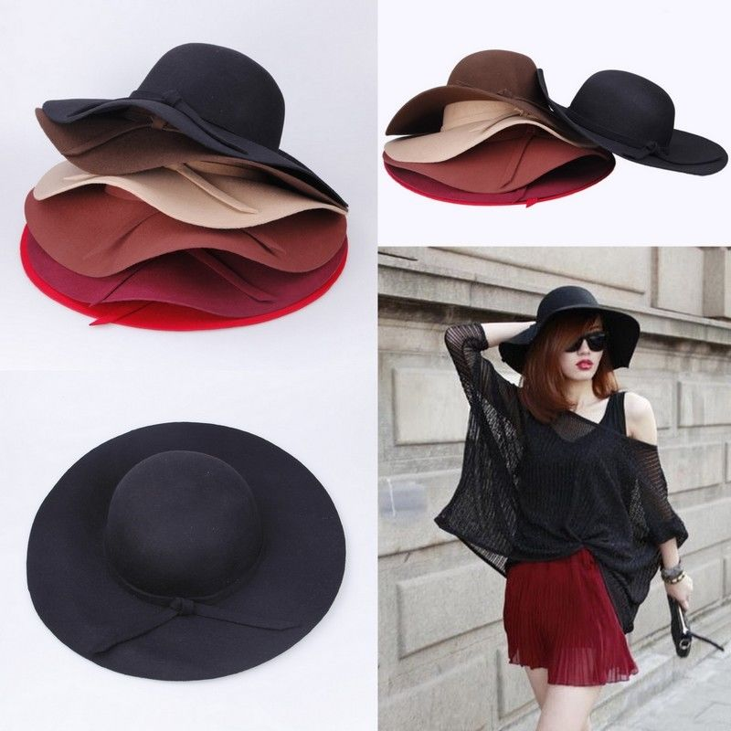 8b7ba064bb5 Fashion Vintage Women Wide Brim Wool Felt Bowler Fedora Hats ...