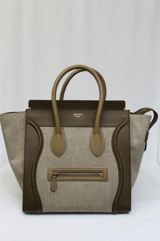 Celine Tricolor Khaki Mini Luggage Linen Leather Tote Bag | Portero Luxury