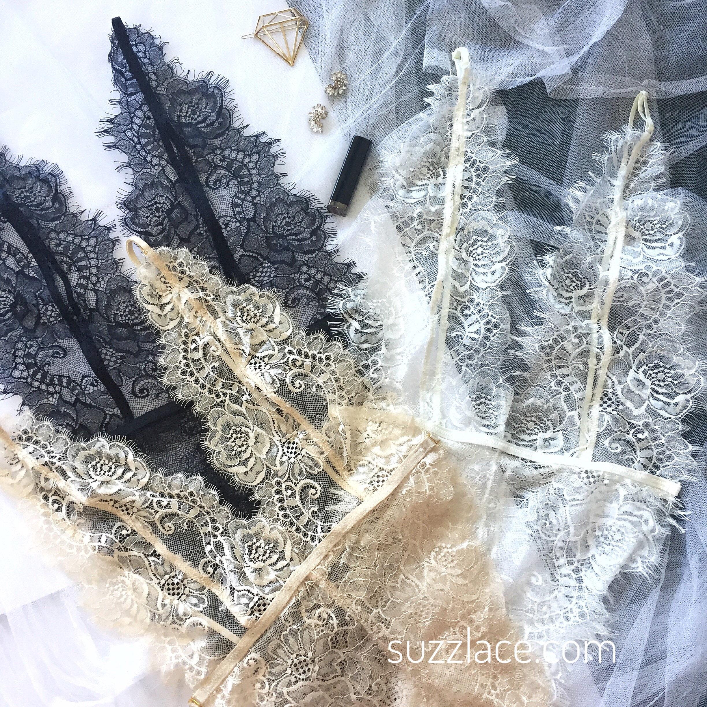 Sale - Bodysuit/ Lace Teddy/ Bridal Lingerie/ Lingerie/ Teddies/ Lace Bodysuit/ Intimate/ Eyelash Lace/ Triangle Cup/ Chantilly Lace/ Gem