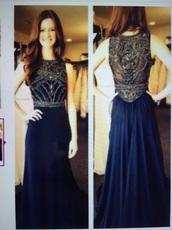 dress,blue dress,prom dress,dark blue,black,long prom dress,prom,blue,gold sequins,beautiful