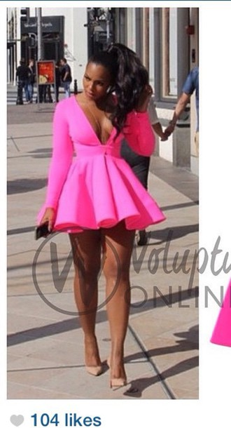 dress skirt plus size style aline plunge v neck pink dress party dress
