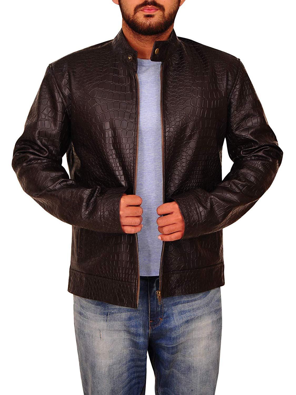 TrendHoop Men Pure Black Alligator Crocodile Print Premium Leather Motorcycle Bikers Jacket at Amazon Men's Clothing store: