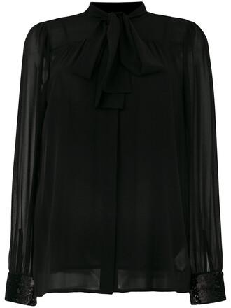 shirt women black sequins top