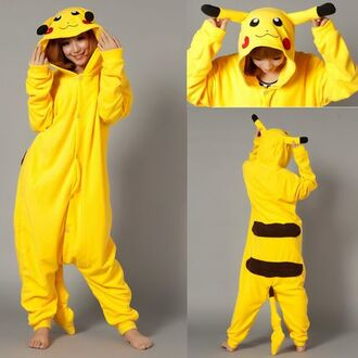 pajamas pikachu halloween costume yellow onesie