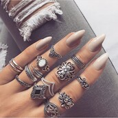 jewels,chick,hot,fancy,jeans,ring,midi,nail polish,midirings,silver,colorful,tattoo,jewelry,boho,boho chic,boho jewelry,bohemian,knuckle ring,rings and tings,silver ring,silver jewelry,ring stack