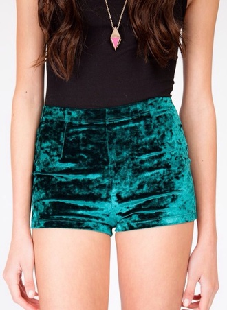 shorts emerald green dark green green green shorts velvet emerald shorts high waisted shorts