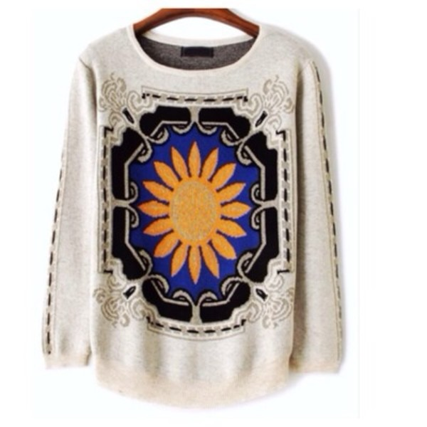 sweater sunflower knitted sweater floral
